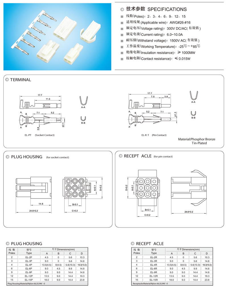 Jst Wire To Housing Terminal Connector El Series 45mm Pitch Electrical Wiring Accessories Manufacturers Connectorscable Connectors Connectorelectric Connectorcable Terminationelectrical Wiringconnectors Manufacturerwiring